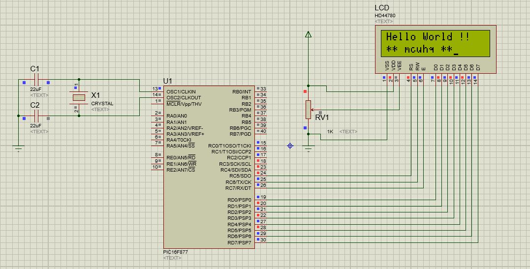 How to interface 16X2 LCD with PIC16F877 microcontroller | mcuhq
